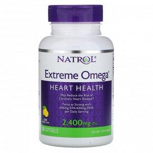 Natrol, Extreme Omega, со вкусом лимона, 2400 мг, 60 мягких желатиновых капсул