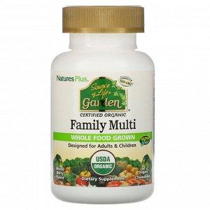 Nature's Plus, Source of Life, Garden, Organic Family Multi, смешанный ягодный вкус, 60 веганских жевательных таблеток