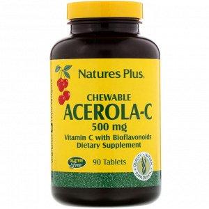 Nature&#x27 - s Plus, Ацерола-C в жевательной форме, витамин C с биофлавоноидами, 500 мг, 90 таблеток