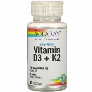 Solaray, Vitamin D3 + K2, Soy-Free, 60 VegCaps
