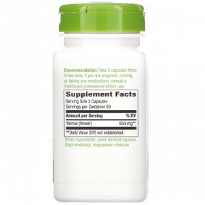 Nature&#x27 - s Way, Yarrow Flowers, 650 mg, 100 Vegan Capsules