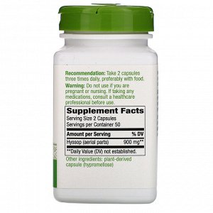 Nature&#x27 - s Way, Hyssop Herb, 900 mg, 100 Vegan Capsules