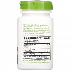 Nature&#x27 - s Way, Slippery Elm Bark, 1,600 mg, 100 Vegan Capsules