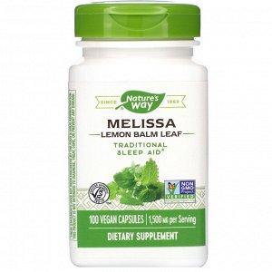 Nature&#x27 - s Way, Melissa, Lemon Balm Leaf, 1,500 mg, 100 Vegan Capsules