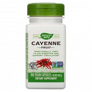 Nature&#x27 - s Way, Cayenne Fruit, 40,000 SHU/g, 100 Vegan Capsules