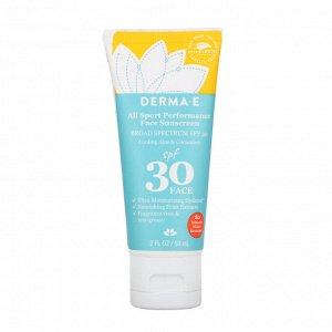 Derma E, All Sport Performance Face Sunscreen, SPF 30, Cooling Aloe & Cucumber, 2 fl oz (59 ml)