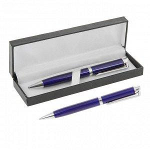 Ручка шариковая, подарочная, в кожзам футляре, поворотная, «Эспрессо», синяя, с серебром