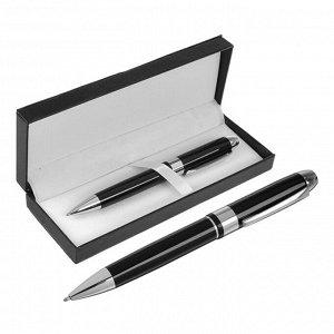 Ручка подарочная, шариковая, в кожзам футляре, поворотная, чёрно-серебристый корпус