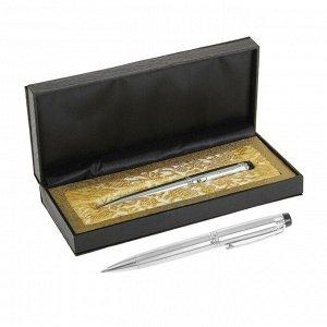 Ручка шариковая, подарочная, в кожзам футляре, поворотная, «Директор», серебристая