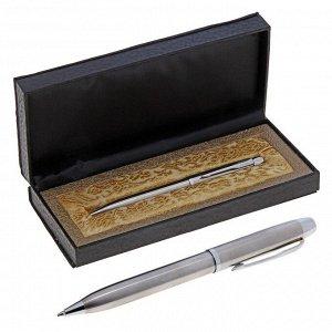 Ручка шариковая, подарочная, в кожзам футляре, «Стиль», серебристая