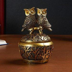 """Шкатулка полистоун """"Два филина с золотистыми перьями на ветке"""" 13,5х9х9 см"""