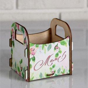 """Кашпо деревянное 10.5?10?11 см подарочное Рокси Смит """"Маме. Цветы на белом фоне"""", коробка"""