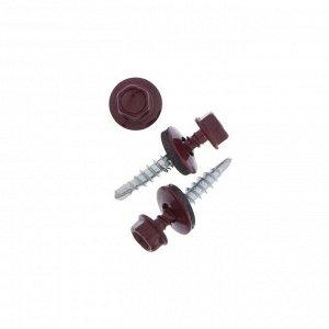 Саморез  4,8х28 кровельный, винно-красный, RAL 3005, уп. 60 шт.