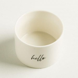 Керамический белый горшок Hello. 8 х 5.5 см