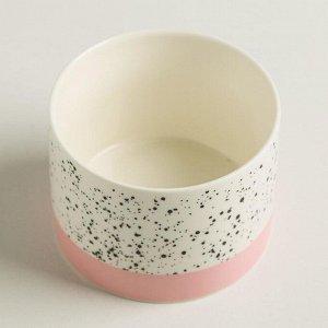 Керамический белый горшок «Брызги». 8 х 5.5 см