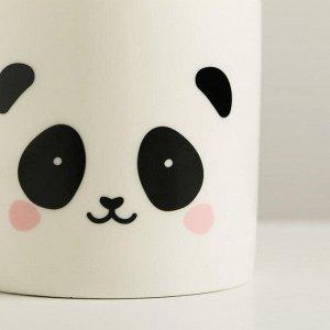 Керамический белый горшок «Панда». 8 х 7.5 см