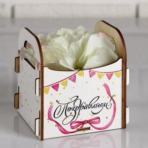 """Кашпо деревянное 10.5?10?11 см подарочное Рокси Смит """"Поздравляем!"""", коробка"""