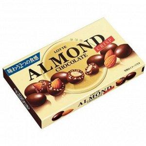 Альмонд LOTTE миндаль в шоколаде хрустящий, 89 гр