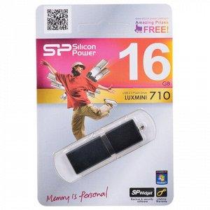 Флеш-диск 16 GB, SILICON POWER LuxMini 710, USB 2.0, металлический корпус, черный, SP16GBUF2710V1K
