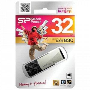 Флеш-диск 32 GB SILICON POWER Blaze B30 USB 3.1, черный, SP32GBUF3B30V1K
