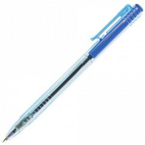 """Ручка шариковая масляная автоматическая BRAUBERG """"Click Blue"""", СИНЯЯ, тонированный корпус, узел 1 мм, линия письма 0,5 мм, 14271"""