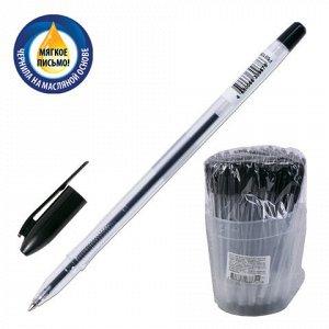 """Ручка шариковая масляная СТАММ """"VeGa"""", ЧЕРНАЯ, корпус прозрачный, узел 1,2 мм, линия письма 0,7 мм, РШ108"""