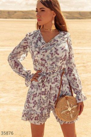 Шифоновое платье с цветами