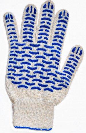 """Перчатки с ПВХ """"Волна"""" белые, 10 класс, 5 нитей"""