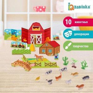 Набор животных с декорациями «Фермерское хозяйство», 10 животных, по методике Монтессори