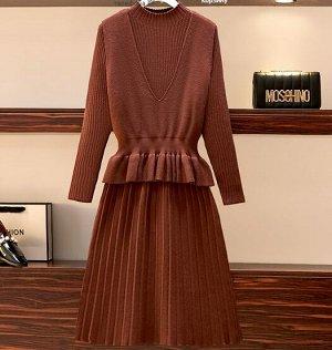Платье +жилет,коричневый