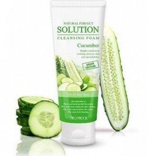 KR/ DEOPROCE Пенка д/умывания NATURAL PERFECT SOLUTION CLEANSING FOAM Cucumber (Огурец)/ 170гр