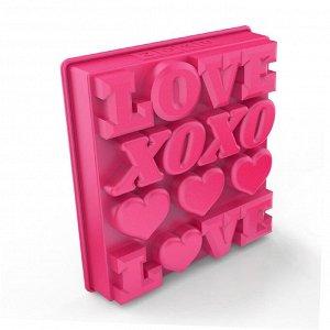 Форма для льда Love, розовая 4780071