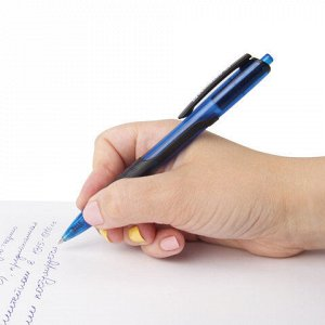 """Ручка шариковая масляная автоматическая с грипом BRAUBERG """"Phantom"""", СИНЯЯ, узел 0,7 мм, линия письма 0,35 мм, 142699"""