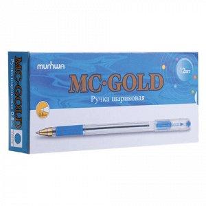 """Ручка шариковая масляная с грипом MUNHWA """"MC Gold"""", ГОЛУБАЯ, корпус прозрачный, узел 0,5 мм, линия письма 0,3 мм, BMC-12"""