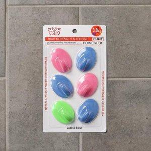 Набор крючков на липучке «Классика», 6 шт, цвет МИКС