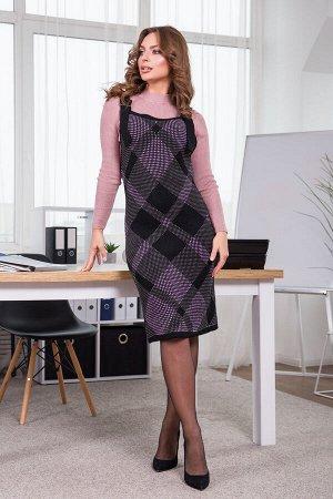 Теплое платье-сарафан в клетку Агата (черный, вишня, горчица)