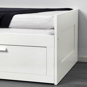 БРИМНЭС Кушетка с 2 матрасами/2 ящиками, белый, Малфорс средн жесткости 80x200 см