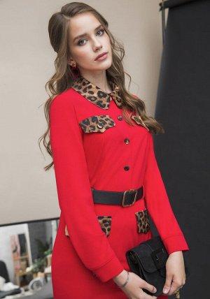 Платье Платье Galean Style 769 красный  Состав ткани: ПЭ-100%;  Рост: 164 см.  Длина изделия/рукав: 100/60