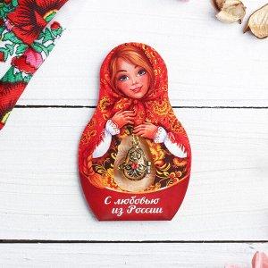 Подвеска-матрёшка на открытке «С любовью из России. Узоры»