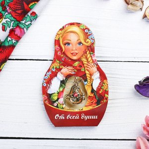 Подвеска-матрёшка на открытке «От всей души. Цветы»