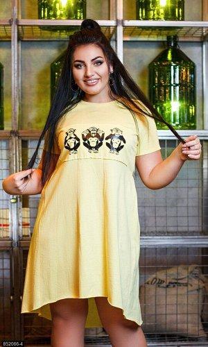 Платье 852066-4 желтый Весна 2019 Украина