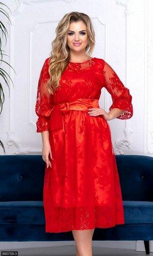 Платье 880759-3 красный Осень-Зима 2019 Украина