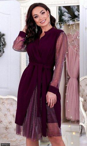 Платье 881102-3 бордо Осень-Зима 2019 Украина