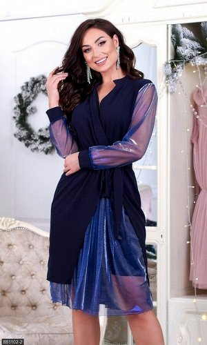 Платье 881102-2 синий Осень-Зима 2019 Украина