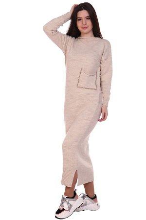 Платье вязаное с карманом