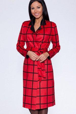Пальто Ткань: Искусственная замша;  Состав: Полиэстер 65%, Хлопок 30%, Лайкра 5%;  Сезон: Осень, Зима, Весна;  Цвет: Красный/черный;