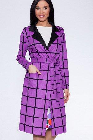 Пальто Ткань: Искусственная замша;  Состав: Полиэстер 65%, Хлопок 30%, Лайкра 5%;  Сезон: Осень, Весна;  Цвет: Фиолетовый;
