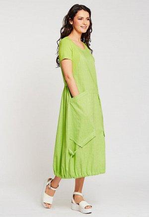 Платье Состав: Лен 70%, Хлопок 30%.  Цвет: Салатовый.   Подробнее: Комбинированное летнее платье с коротким рукавом и глубокими декоративными карманами.