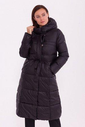 Пальто Состав: Полиэстер 63%, Нейлон 37%.  Цвет: Черный.  Длинное зимнее пальто приталенного силуэта, слегка расклешенное к низу. Подрез по талии с тонким пояском – кулиской. Наклонные карманы на молн