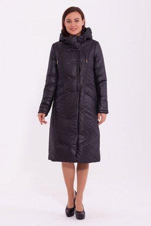 Пальто Состав: Полиэстер 100%.  Цвет: Черный.  Длинное зимнее пальто приталенного силуэта с центральной застежкой на молнию. Воротник – стойка. Карманы с потайными кнопками, капюшон затягивается на ку